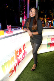 Jordin Sparks kept it laid-back in a gray turtleneck and a pair of leggings at the Aquafina FlavorSplash launch.