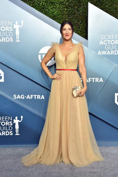 D'Arcy Carden Satin Clutch [dress,clothing,shoulder,gown,carpet,red carpet,a-line,fashion model,strapless dress,fashion,arrivals,darcy carden,screen actors guild awards,screen actors\u00e2 guild awards,the shrine auditorium,los angeles,california,darcy carden,barry,celebrity,25th screen actors guild awards,sag-aftra,actor,red carpet,photograph,television]