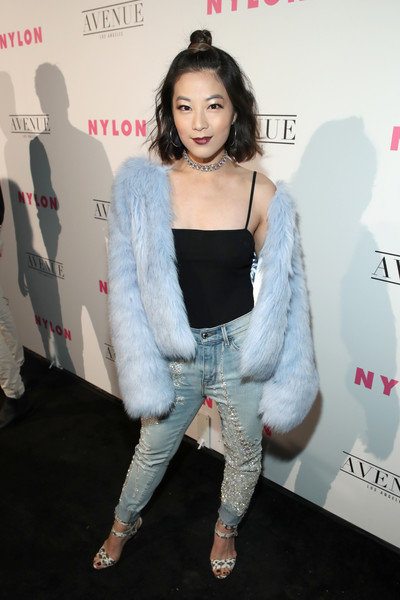 Arden Cho Faux Fur Coat [clothing,shoulder,fashion,outerwear,joint,leg,fashion design,black hair,premiere,carpet,arden cho,nylon,los angeles,avenue los angeles,nylon young hollywood party,california,young hollywood party]