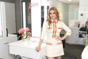 Ariel Winter kept it classy in a cream shirtdress with peach and red trim at the Salon at Ulta Beauty New Signature Blowout Menu launch.