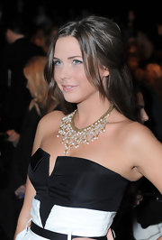 Erin epitomized elegance in a black and white gown accessorized with a beaded gold necklace for NY Fashion Week.
