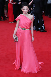 Lara Pulver chose this flowing pink gown with a Grecian-style single shoulder strap for her elegant look at the BAFTA TV Awards.