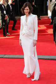Elizabeth McGovern cut a strong silhouette in a bold-shouldered white evening dress during the Arqiva British Academy Television Awards.