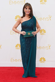 Kate Linder opted for a teal one-shoulder gown when she attended the Emmys.