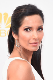 Padma Lakshmi polished off her look with a dazzling pair of Fred Leighton diamond earrings.