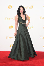 Sarah Silverman wore a dangerously decollete forest-green Marni gown to the Emmys.