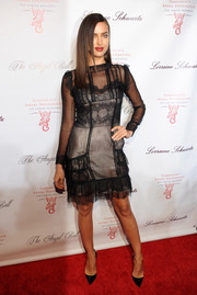 Irina Shayk looked very ladylike at the Angel Ball in a sheer lace-panel Alberta Ferretti LBD worn with a nude underlay.