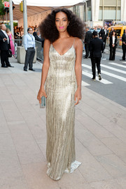 Solange Knowles radiated in a fully sequined Calvin Klein gown during the CFDA Fashion Awards.
