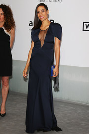 Rosario Dawson put her cleavage on display in a navy mesh-panel gown by Vionnet during the Cinema Against AIDS Gala.