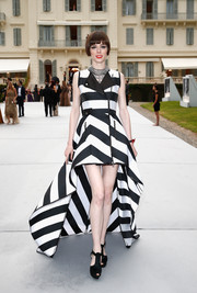 Coco Rocha cut a striking figure in a boldly striped fishtail gown during the Cinema Against AIDS Gala.