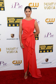 Camila Alves went for an ultra-sweet vibe at the Critics' Choice Awards in a coral Paule Ka gown with bow detail.
