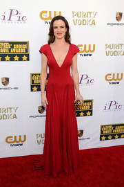 Juliette Lewis oozed sexy elegance at the Critics' Choice Awards in a red Zac Posen gown with a plunging neckline.