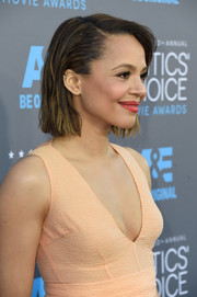 Carmen Ejogo wore her short hair in a slicked back bob for the Critics' Choice Movie Awards.