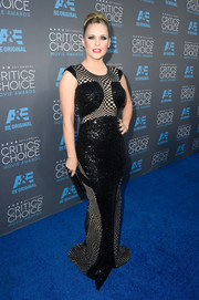 Carrie Keagan stunned in a checkerboard print and sequin gown at the Critics' Choice Movie Awards.