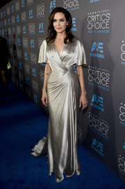 Angelina Jolie could not have looked more elegant at the Critics' Choice Movie Awards in a metallic gown with flattering draped sleeves.