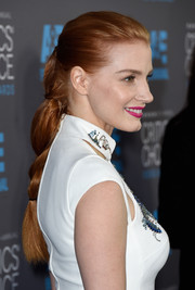 Jessica Chastain brushed her tresses back into a romantic loose braid for the Critics' Choice Movie Awards.