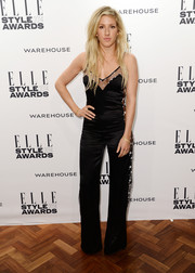 Ellie Goulding opted for a sexy black sheer-panel jumpsuit by Matthew Williamson when she attended the Elle Style Awards.