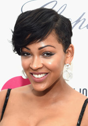 Meagan Good looked trendy with her emo bangs at the 2015 Elton John AIDS Foundation Oscar-viewing party.