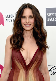 Andie MacDowell looked effortlessly chic with her long center-parted waves at Elton John's Oscar-viewing party.