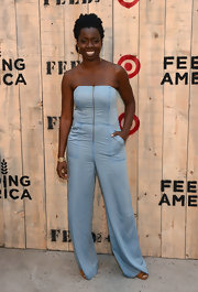 Adepero Oduye looked oh-so-cool in her strapless denim jumpsuit at the Feed USA + Target launch.