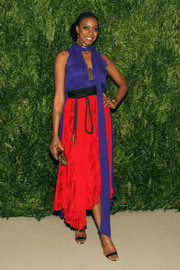 Condola Rashad sported a striking mix of colors with this blue and red number by Juan Carlos Obando during the Fashion Fund finalists celebration.