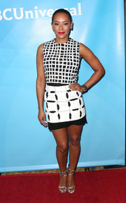 Melanie Brown was casual yet stylish in a black-and-white grid top by Balenciaga during NBCUniversal's Summer Press Day.