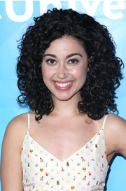 Carly Ciarrocchi topped off her look with high-volume, tight curls during NBCUniversal's Summer Press Day.