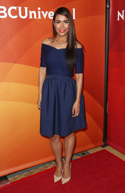 Daniella Alonso looked very ladylike in a blue off-the-shoulder dress during NBCUniversal's Summer Press Day.