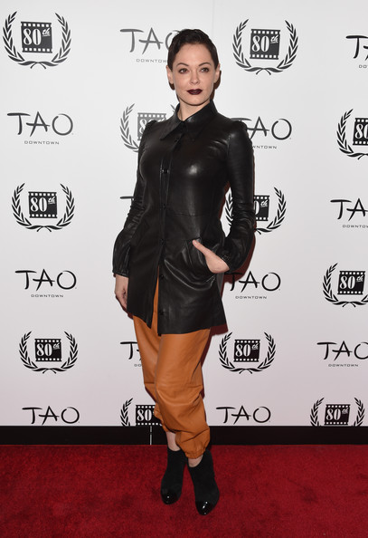 More Pics of Rose McGowan Fauxhawk (1 of 9) - Rose McGowan Lookbook - StyleBistro [clothing,leather,carpet,shoulder,dress,joint,footwear,red carpet,leather jacket,jacket,new york city,tao downtown,new york film critics circle awards,arrivals,rose mcgowan]