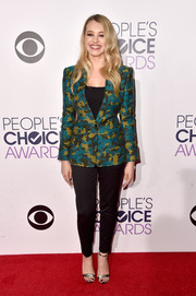 Sadie Calvano suited up in a colorful camo-print blazer by L.A.M.B. for the People's Choice Awards.