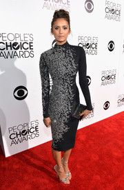 Nina Dobrev dazzled in a high-neck, crystal-encrusted dress by Jenny Packham at the People's Choice Awards.