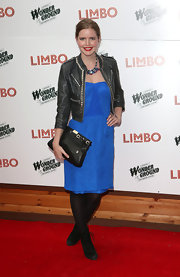 Katie Readman chose a bright blue frock for her blend of sexy and edgy on the red carpet.