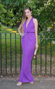 Amber Le Bon stood out in a bright purple Grecian gown during the Serpentine Gallery Summer Party.