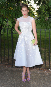 Princess Beatrice went for a dreamy '50s look with this flower-appliqued, sheer-panel white cocktail dress by Nicholas Oakwell Couture during the Serpentine Gallery Summer Party.