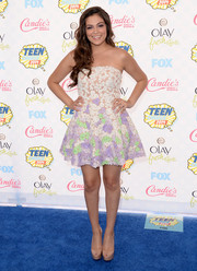 Bethany Mota oozed ultra-girly sweetness in an embellished white, purple, and green strapless mini by Sherri Hill at the Teen Choice Awards.