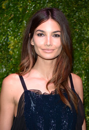 Lily Aldridge sported a nude pucker while playing up her eyes with dark liner.