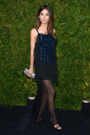 Lily Aldridge looked dramatic at the Tribeca Film Festival Artists Dinner in a navy Chanel evening dress with a sparkly underlay.