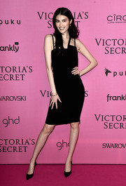 Sui He opted for a no-frills LBD with an asymmetrical neckline when she attended the Victoria's Secret fashion show after-party.