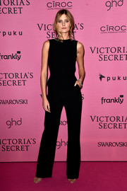In a sea of sexy outfits at the Victoria's Secret fashion show after-party, Constance Jablonski stood out in a modest black Mugler jumpsuit.