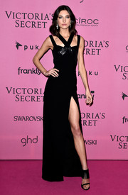Jacquelyn Jablonski flaunted some leg in a black crisscross-neckline gown with a thigh-high slit at the Victoria's Secret fashion show after-party.