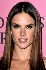 Alessandra Ambrosio wore a sleek center-parted hairstyle to the Victoria's Secret fashion show after-party.