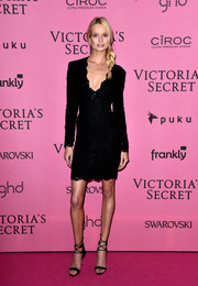 Maud Welzen kept it demure in a long-sleeve lace LBD at the Victoria's Secret fashion show after-party.
