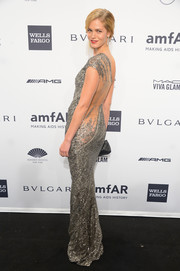 Erin Heatherton brought a heavy dose of sparkle and sexiness to the amfAR New York Gala with this backless beaded KaufmanFranco gown.