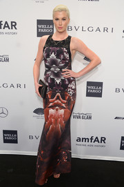Ireland Baldwin went the modern route in an abstract-print Gabriela Cadena gown during the amfAR New York Gala.
