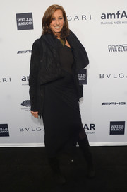 Donna Karan layered a chunky black high-low jacket over an evening dress for the amfAR New York Gala.