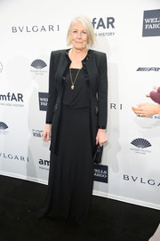 Vanessa Redgrave looked regal in a black evening coat layered over a gown during the amfAR New York Gala.