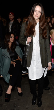 Stacy Martin teamed a gray blazer with a white shirtdress for the Rag & Bone fashion show.