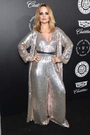 Mena Suvari looked disco-ready in a fully sequined silver jumpsuit by Temperley London at the Art of Elysium Heaven Gala.