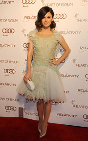 Rachel Bilson was a feathered beauty in a pastel cocktail dress at the Art of Elysium Gala.