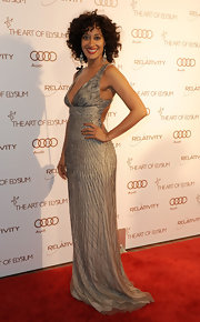 Tracee Ellis Ross wore a silver backless gown to the Art of Elysium Gala.